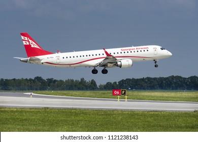 PRAGUE - JUNE 15, 2018: Georgian airways Embraer ERJ 190-100 IGW at Vaclav Havel Airport Prague (PRG) JUNE 15, 2018 in Prague, Czech Republic