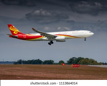 PRAGUE - JUNE 15, 2018: Hainan airlines Airbus A330 landing at Vaclav Havel Airport Prague (PRG) JUNE 15, 2018 in Prague, Czech Republic