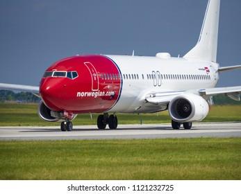PRAGUE - JUNE 15, 2018: Norwegian Boeing 737 at Vaclav Havel Airport Prague (PRG) JUNE 15, 2018 in Prague, Czech Republic