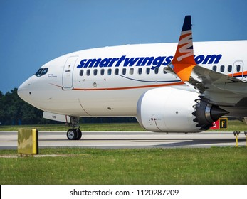 PRAGUE - JUNE 15, 2018: Smartwings Boeing 737 max 8 at Vaclav Havel Airport Prague (PRG) JUNE 15, 2018 in Prague, Czech Republic