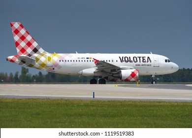 PRAGUE - JUNE 15, 2018: Volotea  Airbus A319 at Vaclav Havel Airport Prague (PRG) JUNE 15, 2018 in Prague, Czech Republic