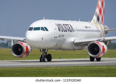 PRAGUE - JUNE 15, 2018: Volotea Airbus A319 at Vaclav Havel Airport Prague (PRG) JUNE 15, 2018 in Prague, Czech Republic