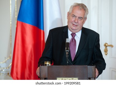 PRAGUE - JUNE 17: Czech president Milos Zeman during press conference in Prague, Czech republic, June 17, 2014.