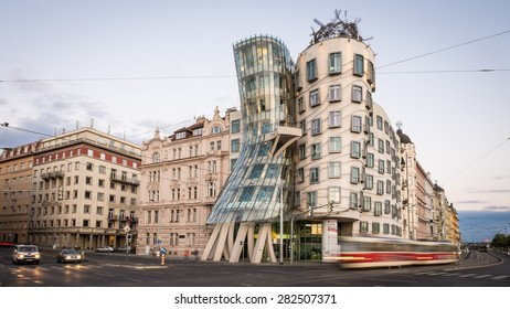 PRAGUE - JUNE 22: Modern building, also known as the Dancing House, designed by Vlado Milunic and Frank O. Gehry stands on the Rasinovo Nabrezi. Photographed on June 22, 2014 in Prague.