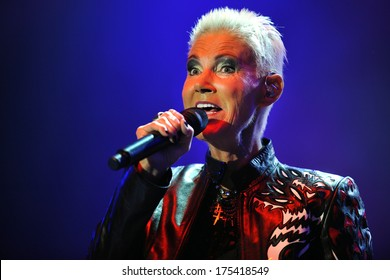 PRAGUE - JUNE 5: Singer Marie Fredriksson of Roxette during performance in Prague, Czech republic, June 5, 2011.