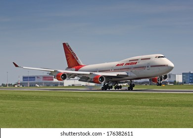 PRAGUE - JUNE 6: An Air India Boeing 747 landing on June 6, 2010 in Prague. Air India is the flag carrier airline of India with 101 planes in operation.