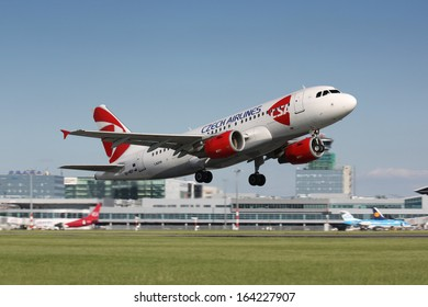 PRAGUE - JUNE 8:A320 Czech airlines takes off in PRG in Prague, CZE on June, 2010. Czech airlines was founded in 1923. Airlines are flag carrier of Czech republic