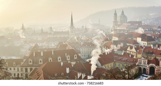 Prague Lesser Town during cold winter days when the sky is covered by smog and fog. Captured in January 2017. Prague, Czech Republic