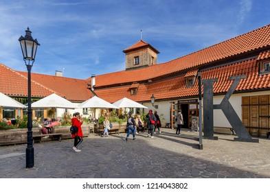 PRAGUE, MALA STRANA DISTRICT / CZECH REPUBLIC - SEPTEMBER 29, 2018: Franz Kafka Museum.