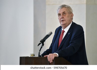 PRAGUE - MARCH 10: Czech president Milos Zeman during press conference in Prague, Czech republic, March 10, 2017. Zeman announced that he will seek re-election in 2018.