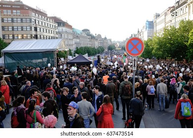 PRAGUE - MARCH 10: People demonstrated against Andrej Babis and Miloš Zeman in Prague, Czech republic, March 10, 2017.