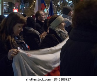 PRAGUE - MARCH 14, 2018: Thousands of people gathered in the framework of a demonstration for the preservation of freedom of speech and media and in support of public broadcasting especially Czech TV.