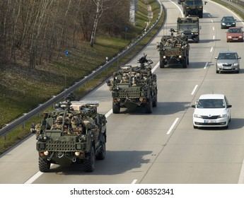 PRAGUE - MARCH 25, 2017: The convoy of American and British NATO troops, during the move from Germany to Poland.