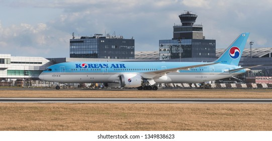 PRAGUE - March 25, 2019: Korean Air Boeing 787-9 dreamliner at Vaclav Havel Airport Prague on March 25, 2019. Korean air is the flag carrier airline of South Korea