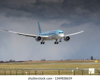 PRAGUE - March 25, 2019: Korean Air Boeing 787-9 dreamliner landing at Vaclav Havel Airport Prague on March 25, 2019. Korean air is the flag carrier airline of South Korea