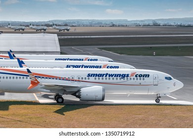 PRAGUE - MARCH 25: Three Smartwings Boeings 737-8 MAX  at PRG Airport on March 25, 2019 in Prague, Czech Republic. Boeing 737 Max aircraft banned from skies of Europe after Ethiopia Airlines crash