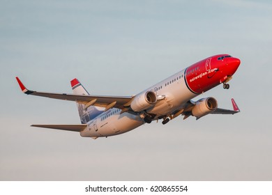 PRAGUE - March 31: Norwegian Air Shuttle Boeing 737-800 take off from PRG on March 31,2017. Norwegian is the third largest low-cost carrier in Europe.