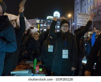 PRAGUE - MARCH 5, 2018 :  Thousands of demonstrators were protesting in Prague against the election of communist-era riot squad officer to head the Czech parliaments security Forces  watchdog.