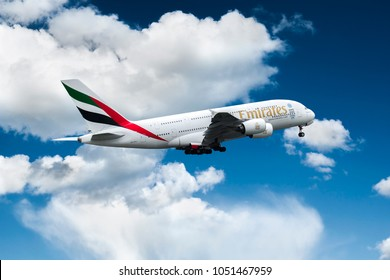 PRAGUE - MAY 01: An Emirates Airbus A380 taking off on MAY 01, 2016 in Prague. The Airbus A380 is the world's largest passenger airliner. Emirates is an airline based in Dubai.