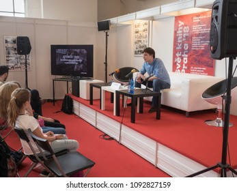 PRAGUE - MAY 10, 2018:  Book World Prague 2018 - 24rd International Book Fair and Literary Festival. Pictured Lukas Kolek, deputy of the Attentat 1942.