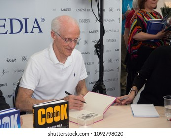 PRAGUE - MAY 11, 2018:  Book World Prague 2018 - 24rd International Book Fair and Literary Festival. Pictured american writer and physician Robin Cook