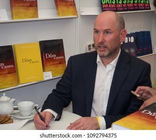 PRAGUE - MAY 12, 2018:  Book World Prague 2018 - 24rd International Book Fair and Literary Festival. Pictured british writer Thomas Harding.