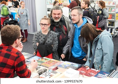 PRAGUE - MAY 12, 2019: Book World Prague 2019 - 25rd International Book Fair and Literary Festival. Book World festival visitors interested in books