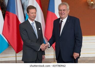 PRAGUE - MAY 13: Grand Duke of Luxembourg Henri (L) and Czech president Milos Zeman (R) during their meeting in Prague, Czech republic, May 13, 2016.