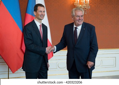 PRAGUE - MAY 13: Hereditary Prince of Liechtenstein Alois (left) and Czech president Milos Zeman (right) during their meeting in Prague, Czech republic, May 13, 2016.
