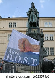Prague - May 14, 2016: Akce D.O.S.T. (Trust, Objectivity, Freedom, Tradition).  At the monument to Charles IV in Prague