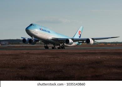 PRAGUE - MAY 17, 2017: Korean air Boeing 747-8 take off from Vaclav Havel Airport Prague (PRG) MAY 17, 2017 in Prague, Czech Republic