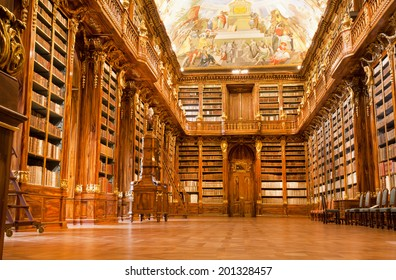 PRAGUE - MAY 17: Big Philosophical room of the historic library in the old building of Strahov monastery on May 17, 2017 in Czech Republic. Philosophical Hall was built in 1784 by Jan Ignaz Palliardi