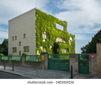 PRAGUE - MAY 19, 2019: Muller s Villa, a leading work of Czech functionalism by Adolf Loos and Frantisek Lhota at Prague s Orechovka.