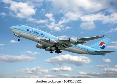 PRAGUE - MAY 2, 2017: Korean air Boeing 747-8 take off from Vaclav Havel Airport Prague (PRG) MAY 2, 2017 in Prague, Czech Republic