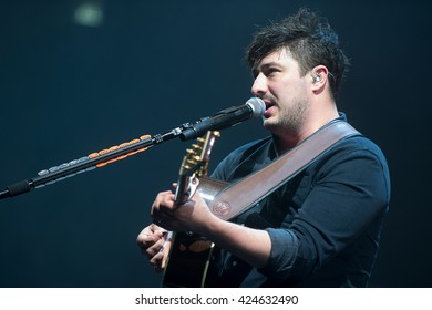 PRAGUE - MAY 20: Singer and guitarist Marcus Mumford of Mumford and Sons during performance in Prague, Czech republic, May 20, 2016.
