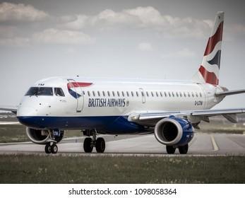 PRAGUE - MAY 21, 2018: British Airways Embraer ERJ-190SR at Vaclav Havel airport Prague (PRG) May 21, 2018 in Prague, Czech Republic.