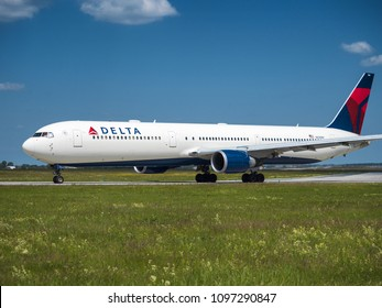 PRAGUE - MAY 21, 2018: Delta airlines Boeing 767-400 at Vaclav Havel airport Prague (PRG) May 21, 2018 in Prague, Czech Republic.