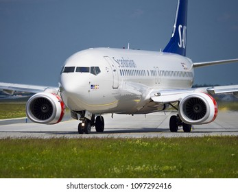 PRAGUE - MAY 21, 2018: Scandinavian  airlines Boeing 737 at Vaclav Havel airport Prague (PRG) May 21, 2018 in Prague, Czech Republic.