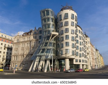 PRAGUE - MAY 25, 2017: Dancing House on Prague's Rasin embankment also known as Ginger and Fred by architects Frank Gehry and Vlado Milunic.