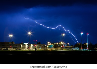 PRAGUE - Night view on Vaclav Havel Airport in Prague. Storm and lightning. Czech republic