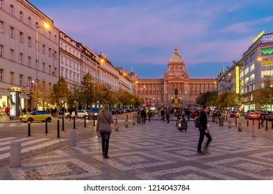 PRAGUE, NOVE MESTO / CZECH REPUBLIC - SEPTEMBER 29, 2018: Vaclavske namesti (eng.: Wenceslas Square) - one of the main city squares. Building of the National Museum closing the perspective.