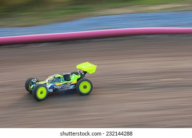 Prague, November 01,2014: RC model carshooted on November 01,24 2014 in Prague - off road race for radio controlled car