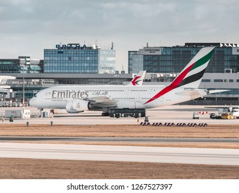 PRAGUE - NOVEMBER 11, 2017: Emirates Airbus A380  at Vaclav Havel Airport Prague (PRG) ,NOVEMBER 11, 2017, Prague, Czech Republic