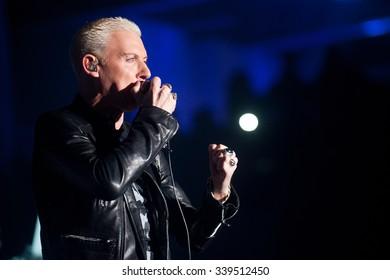 PRAGUE - NOVEMBER 13: Singer H.P. Baxxter of German band Scooter during performance in Prague, Czech republic, November 13, 2015
