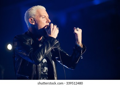 PRAGUE - NOVEMBER 13: Singer H.P. Baxxter of German band Scooter during performance in Prague, Czech republic, November 13, 2015