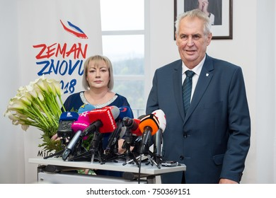 PRAGUE - NOVEMBER 6: Czech president Milos Zeman (right) and his wife Ivana Zemanova (left) during press conference in Prague, Czech republic, November 6, 2017.
