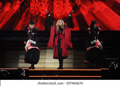 PRAGUE - NOVEMBER 7: Famous pop singer Madonna (in the middle) during her performance in Prague, Czech republic, November 7, 2015.