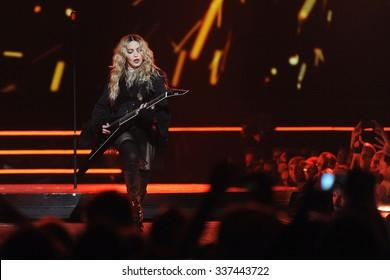 PRAGUE - NOVEMBER 7: Famous pop singer Madonna during her performance in Prague, Czech republic, November 7, 2015.
