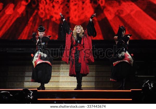 PRAGUE - NOVEMBER 7: Famous pop singer Madonna (in the middle) during her performance in Prague, Czech republic, November 7, 2015.