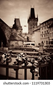 PRAGUE – OCT 8: Street view with padlock on October 8, 2016 in Prague, Czech Republic. Prague is the capital and largest city in Czech Republic with rich culture and history.